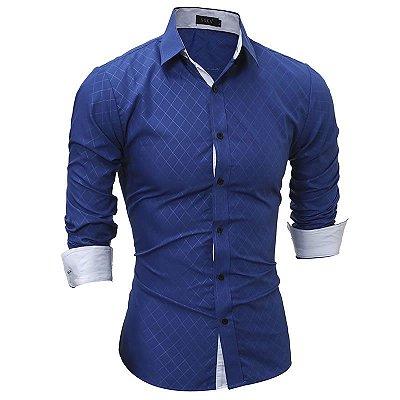 Camisa Manga Longa Xadrez Slim Fit - Preta e Azul