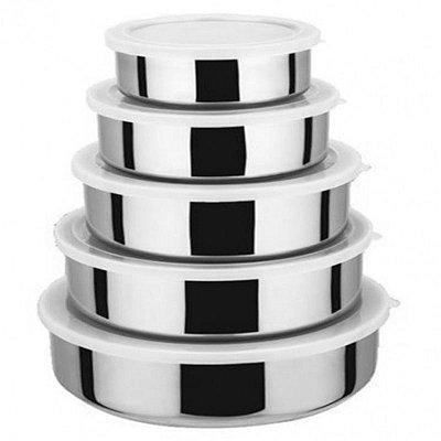 Conjunto Bowls em Inox 5 Peças Com Tampa -