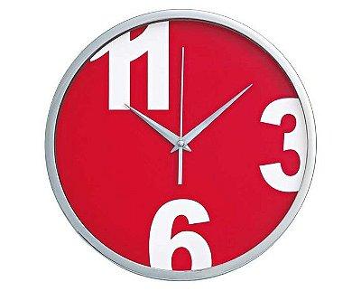 Relógio Parede Vermelho Diâmetro 30cm Hercules Mundial Rel40
