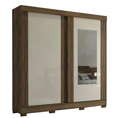 Guarda Roupa Solteiro Com Espelho 2 Portas de Correr Ilhéus Panan Café/Off White