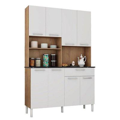 Kit de Cozinha 8 Portas 1 Gaveta Tannat Ronipa Castanho/Branco