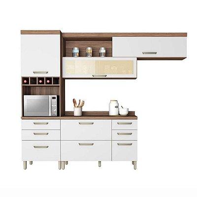 Cozinha Compacta Completa Condessa Nogal/Branco Nesher