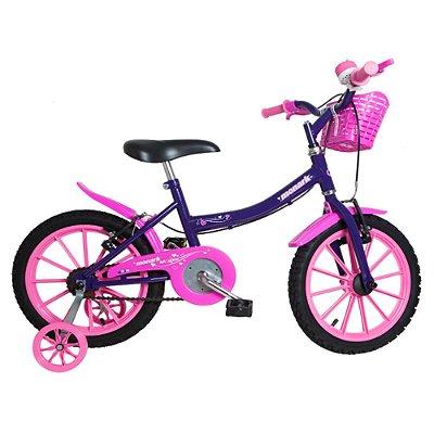 Bicicleta Infantil Kids Aro 16 Feminina Violeta e Rosa Monark