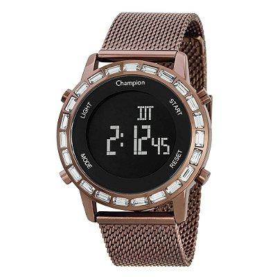 Relógio Feminino Digital CH48117R Chocolate Cristal Mineral Champion