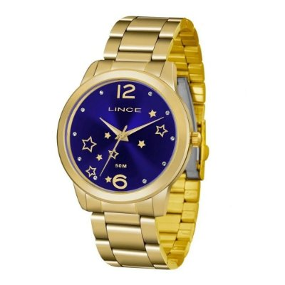 Relógio Feminino Lrgh092 Kv67 Dourado Fundo Azul Lince
