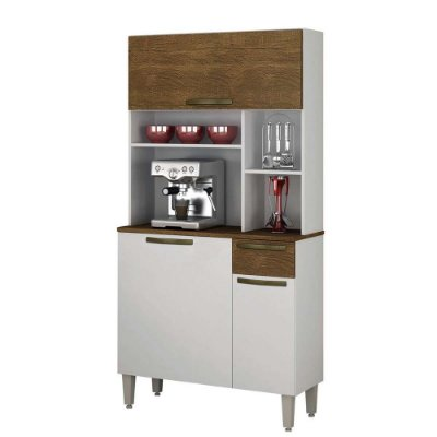 Armário de Cozinha 3 Portas 1 Gaveta Jaspe branco/ipê demolição - Sallêto Móveis