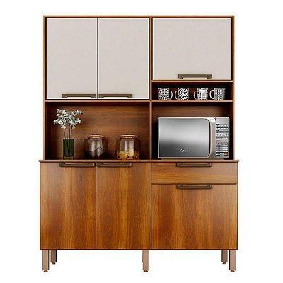 Armário de Cozinha 6 Portas 1 Gaveta Siena Nogal/Off-White - Sallêto Móveis