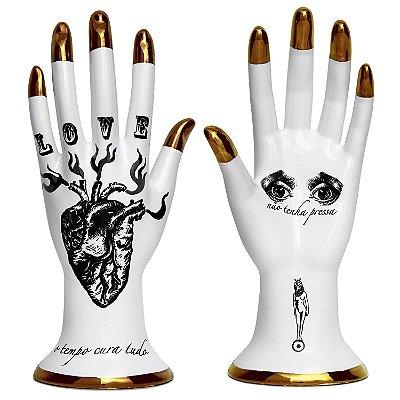 Mão Espalmada _ Coração Bronze