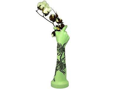Mão Vaso Verde _  Desenho Sapo e Orquídeas