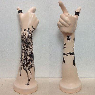 Mão Vaso Pele de Cerâmica- Desenho Flamimgos