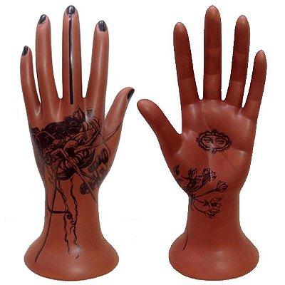 Mão Pele de cerâmica - chocolate