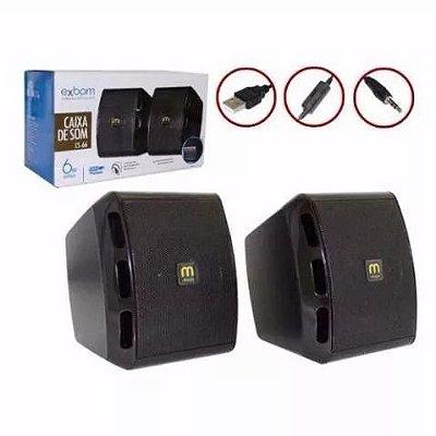 Caixa De Som USB 6W BASS Preto CS-66 Exbom