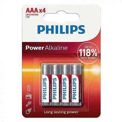 Pilha Alcalina AAA Philips LR03P4B/97 cartela com 4 unidades