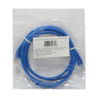 Cabo de Rede PATCH CORD CAT6 26AWG 1.5Mts
