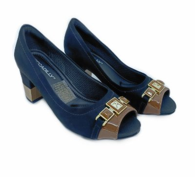 Sapato Piccadilly Peep Toe Salto Grosso 364004