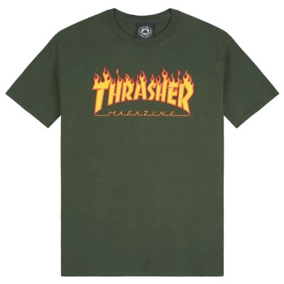 Camiseta Thrasher Flame Logo Verde Militar