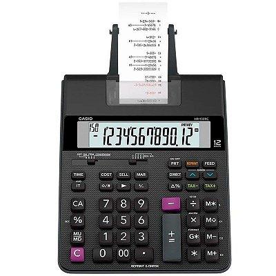 Calculadora De Mesa C/ Bobina Casio HR-150RC 12 Digitos Preta C/ Fonte Bivolt