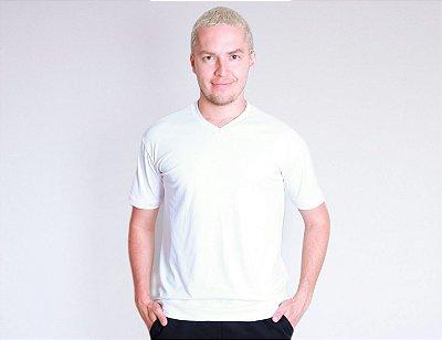 Camiseta gola V branca antiviral