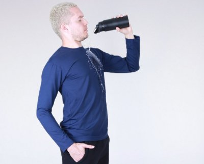 Camiseta  Manga Longa Marinho Water Print HighClo UV