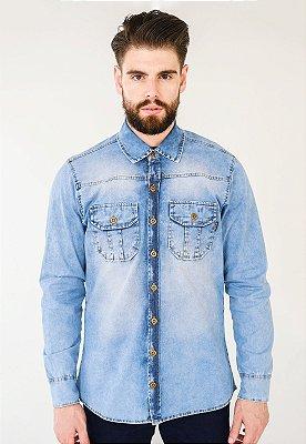 Camisa Jeans Estonada Azul
