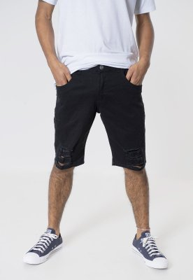 Bermuda Jeans Skinny Destroyed Preta