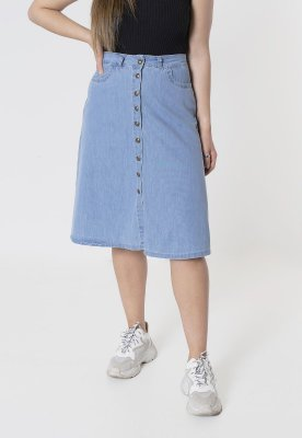 Saia Jeans Midi Azul