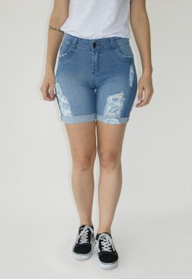 Short Jeans Skinny  Destroyed Azul