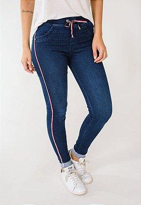 Calça Jeans Skinny Com Listras Azul