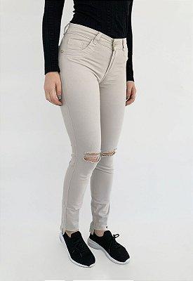 Calça Jeans Skinny Bege