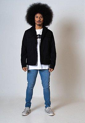 Jaqueta Jeans preta Aero Jeans Forrada Com Pelos Preto