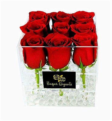 Exclusivo Box em Acrílico c/ 9 Rosas Importadas Vermelhas