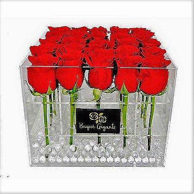 Exclusivo Box em Acrílico c/ 25 Rosas Importadas Vermelhas