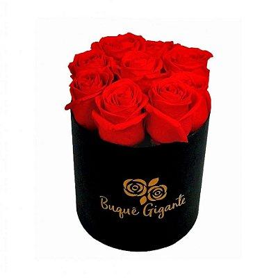 Exclusivo Box Rígido Negro c/ 9 Rosas Importadas Vermelhas
