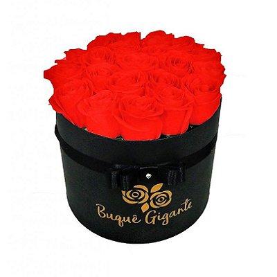 Exclusivo Box Rígido Negro c/ 25 Rosas Importadas Vermelhas