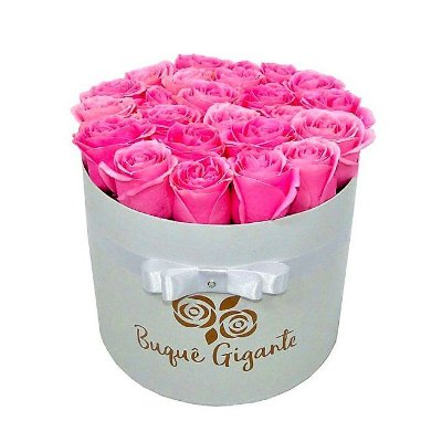 Exclusivo Box Rígido Branco c/ 25 Rosas Importadas cor Rosa