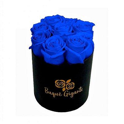 Exclusivo Box Rígido Negro c/ 9 Rosas Azul Importada