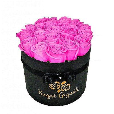 Exclusivo Box Rígido Negro c/ 25 Rosas Importadas cor Rosa