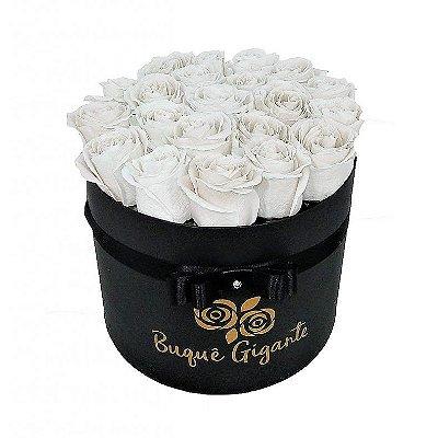 Exclusivo Box Rígido Negro c/ 25 Rosas Importadas Brancas