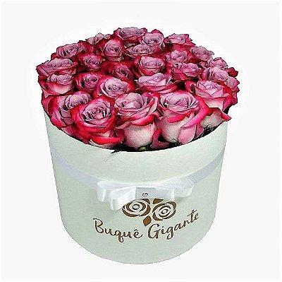 Exclusivo Box Rígido Branco c/ 25 Rosas Importadas cor Pink