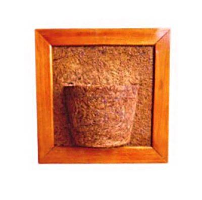 Vaso Artesanal de Parede Quadrado - Madeira e fibra de coco - 45 x 45cm