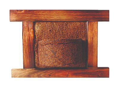 Vaso Artesanal Rústico de Parede - Madeira e Fibra de Coco - 35 x 50cm