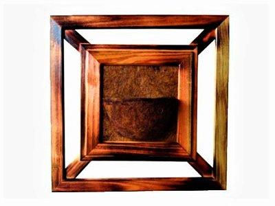 Vaso Artesanal Rústico de Parede Grande - Madeira e Fibra de Coco - 75 x 75cm