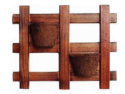 Vaso Artesanal Rústico de Parede Duplo - Madeira e Fibra de Coco - 60 x 48cm