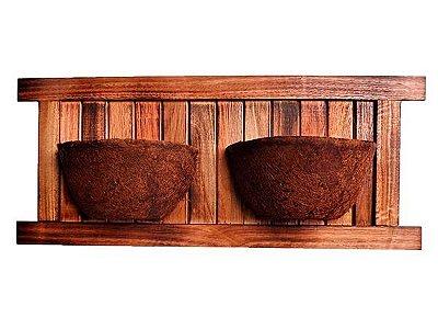 Vaso Artesanal Rústico de Parede Duplo - Madeira e Fibra de Coco - 80 x 36cm