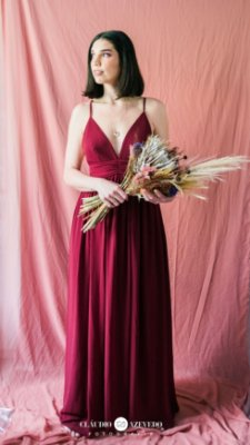 Vestido Gaia - Bordeaux