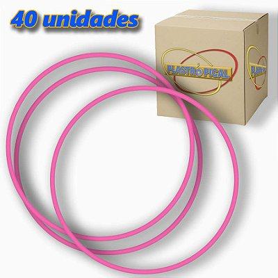 Caixa de Bambolê Infantil Plastico Reforçado Rosa Claro 50cm C/ 40 Unidades