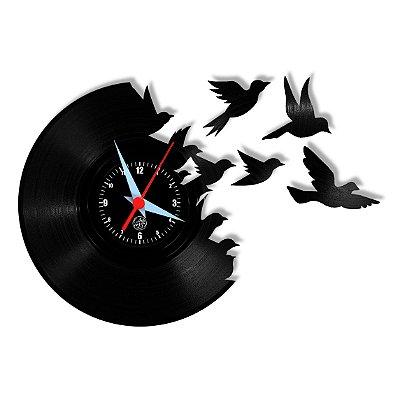 Relógio de Vinil - Pássaros Voando