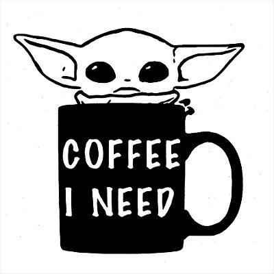 Adesivo de Parede - Baby Yoda Coffee I Need Café Star Wars Tv/Séries Star Wars