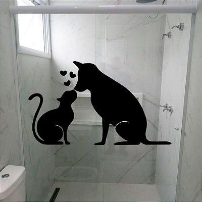Adesivo para Box - Gato E Cachorro Pets