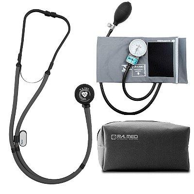 Kit P.A Med Cinza All Black com Estetoscópio e Aparelho de pressão
